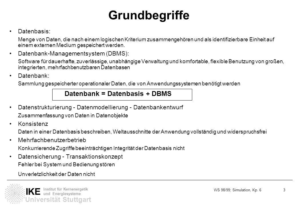 Grundbegriffe Datenbank = Datenbasis + DBMS Datenbasis: