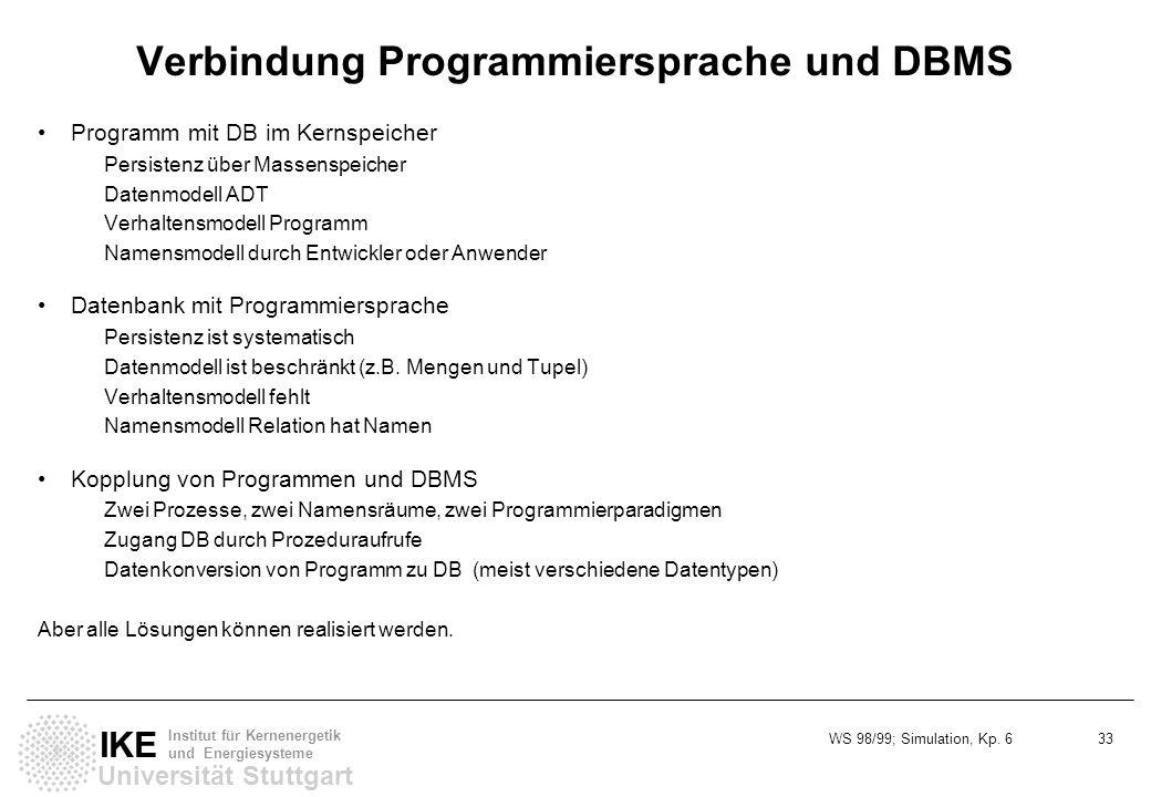 Verbindung Programmiersprache und DBMS