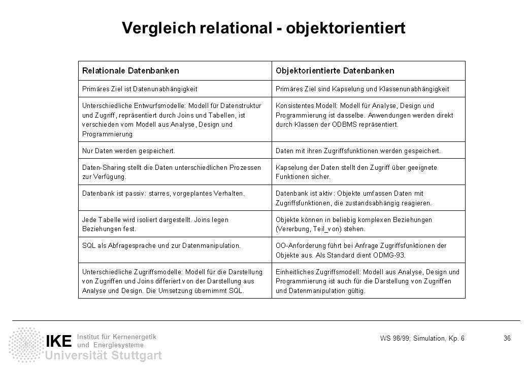 Vergleich relational - objektorientiert
