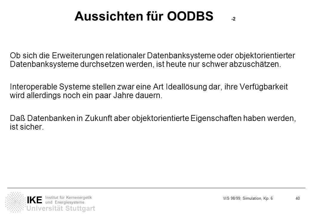 Aussichten für OODBS -2