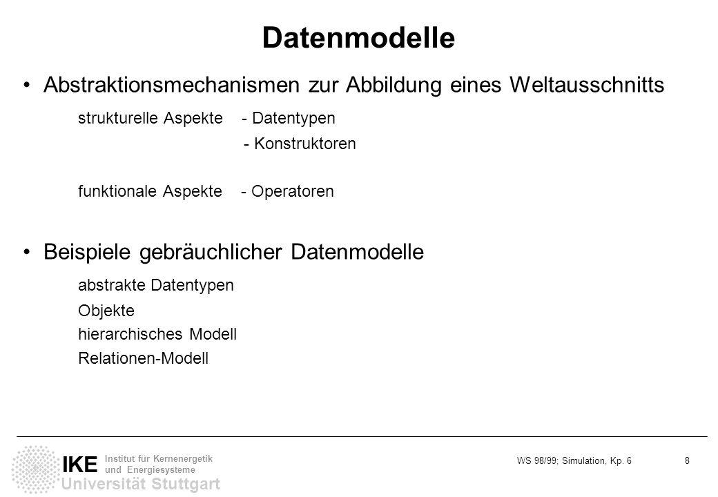 Datenmodelle Abstraktionsmechanismen zur Abbildung eines Weltausschnitts. strukturelle Aspekte - Datentypen.