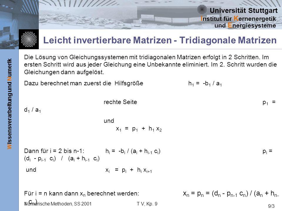 Leicht invertierbare Matrizen - Tridiagonale Matrizen
