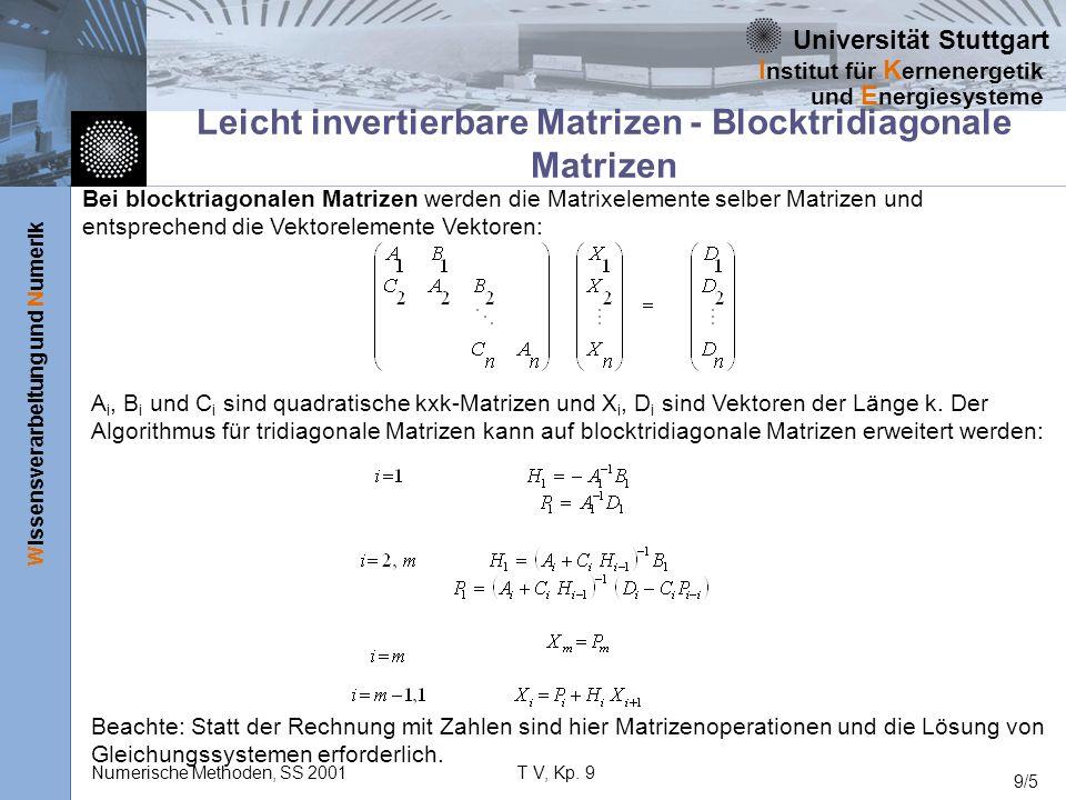 Leicht invertierbare Matrizen - Blocktridiagonale Matrizen