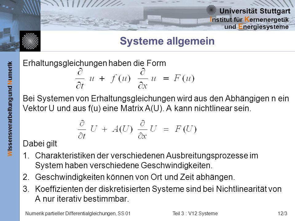 Systeme allgemein Erhaltungsgleichungen haben die Form