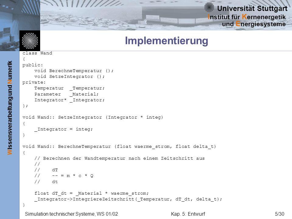 Implementierung class Wand { public: void BerechneTemperatur ();
