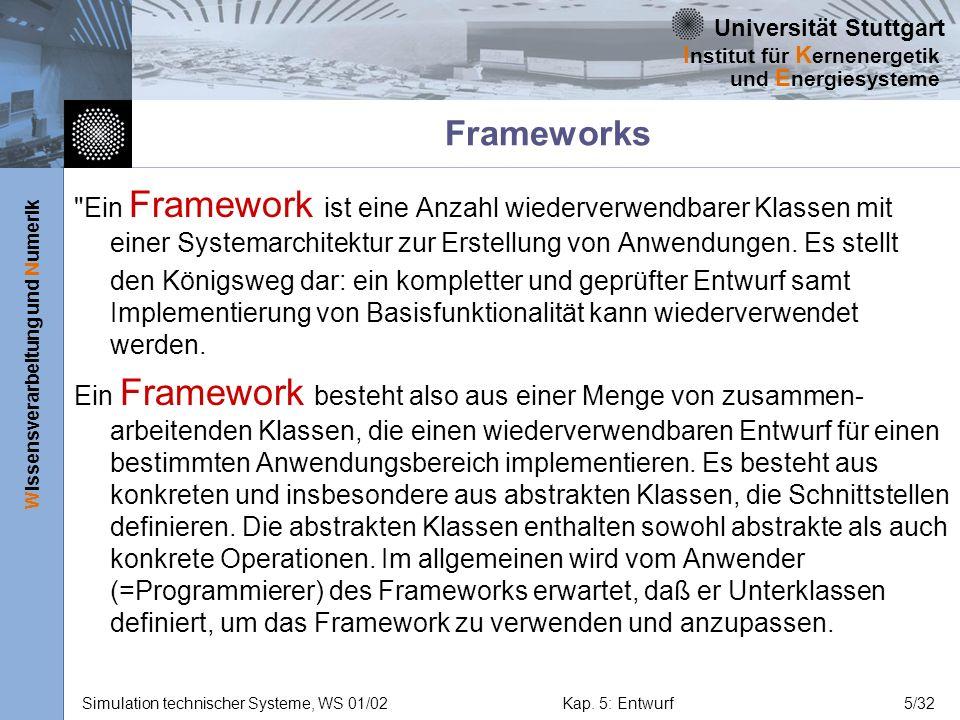 Frameworks Ein Framework ist eine Anzahl wiederverwendbarer Klassen mit einer Systemarchitektur zur Erstellung von Anwendungen. Es stellt.