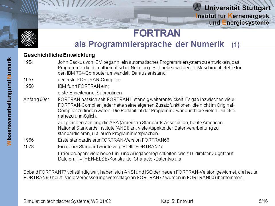 FORTRAN als Programmiersprache der Numerik (1)