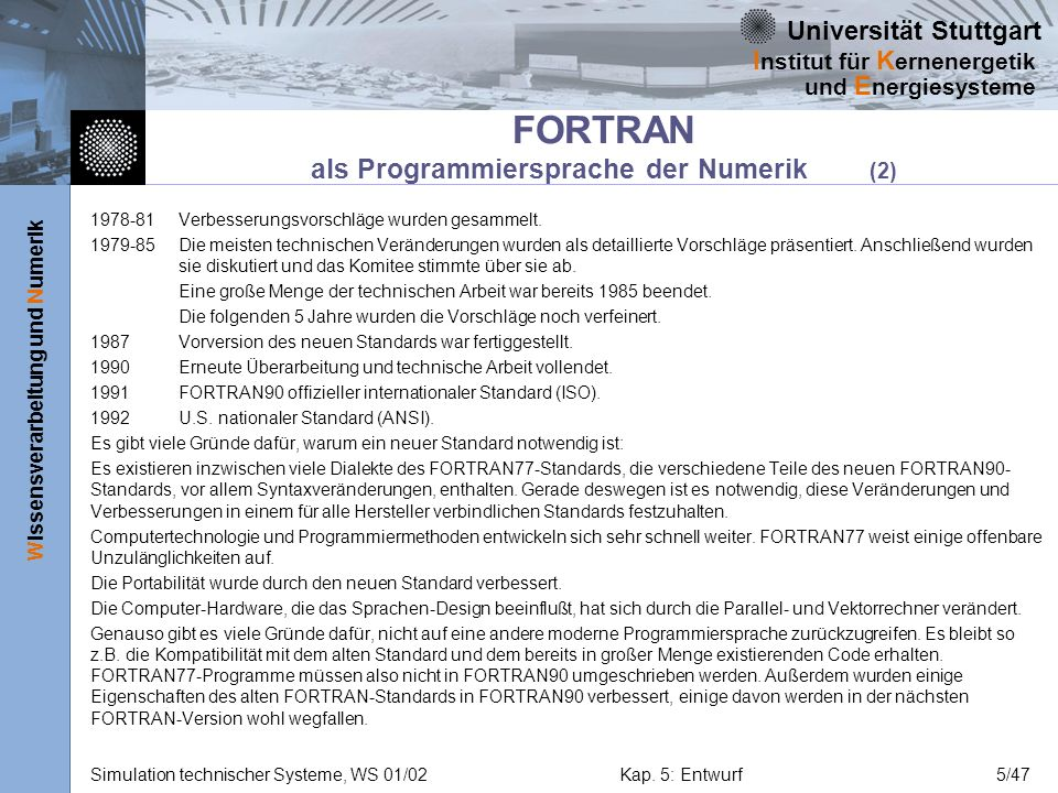 FORTRAN als Programmiersprache der Numerik (2)