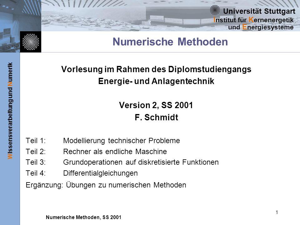 Vorlesung im Rahmen des Diplomstudiengangs Energie- und Anlagentechnik