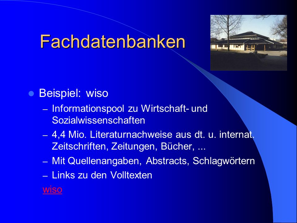Fachdatenbanken Beispiel: wiso