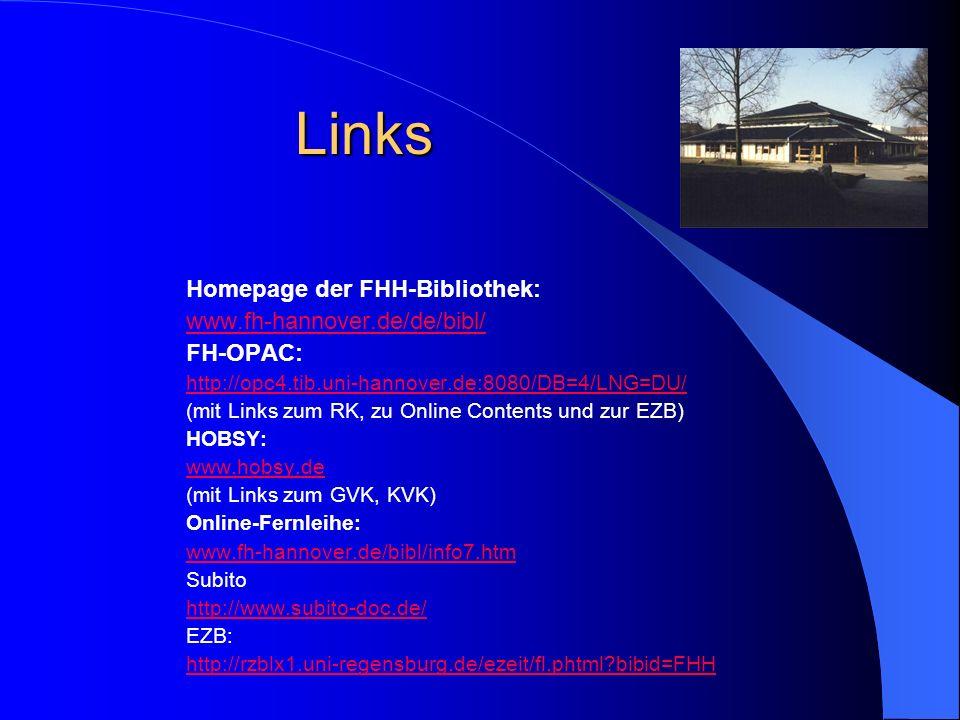 Links Homepage der FHH-Bibliothek: www.fh-hannover.de/de/bibl/