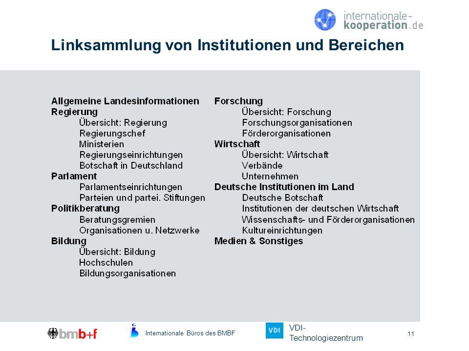 Linksammlung von Institutionen und Bereichen