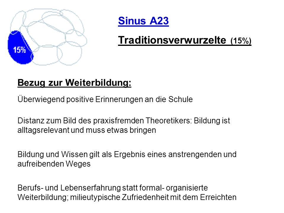 Traditionsverwurzelte (15%)