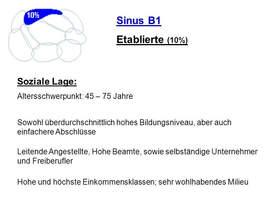 Sinus B1 Etablierte (10%) Soziale Lage: