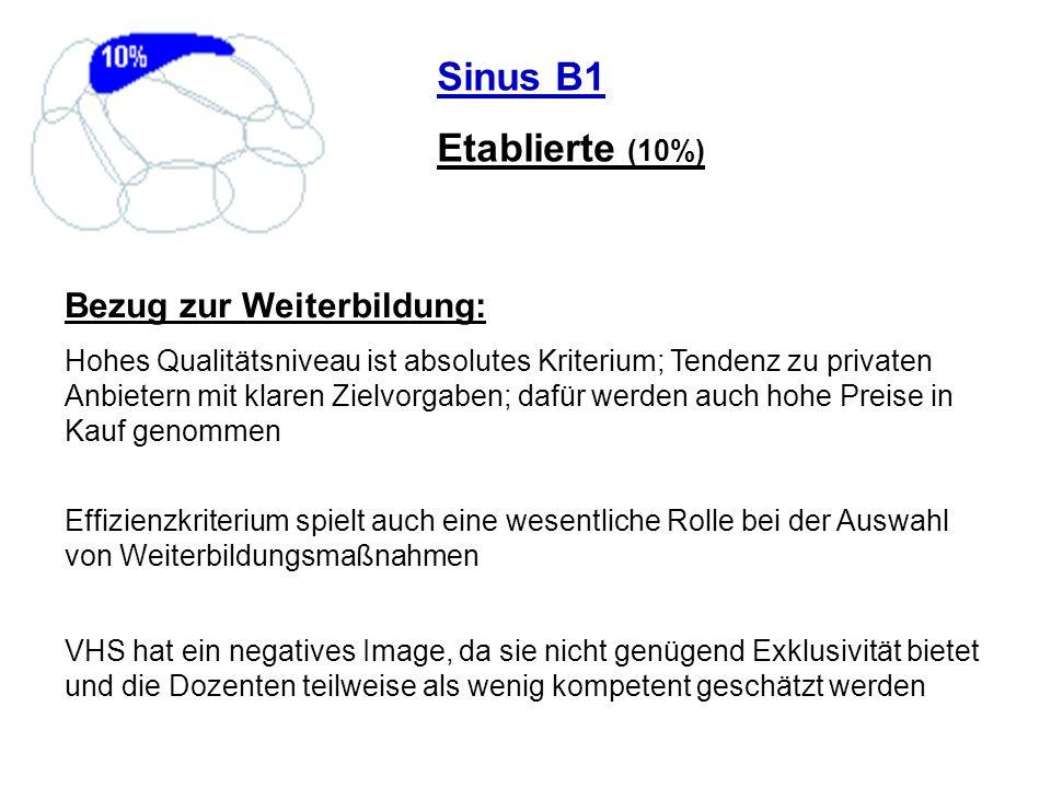 Sinus B1 Etablierte (10%) Bezug zur Weiterbildung: