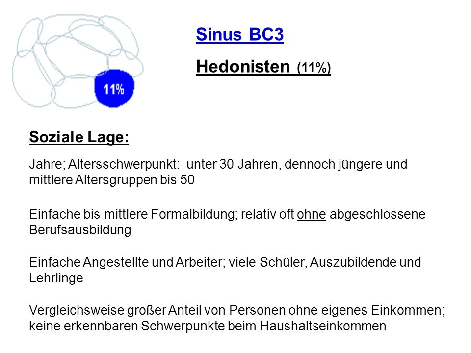 Sinus BC3 Hedonisten (11%) Soziale Lage: