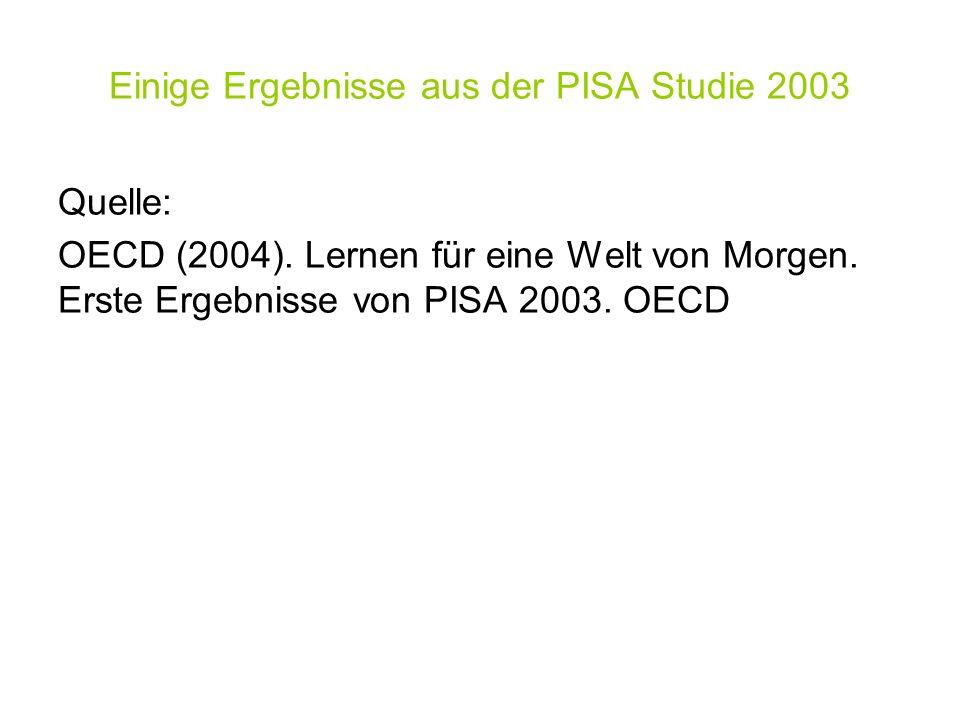 Einige Ergebnisse aus der PISA Studie 2003