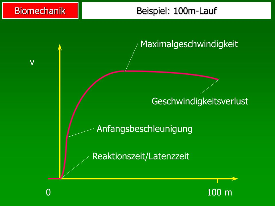 Beispiel: 100m-Lauf Maximalgeschwindigkeit. v. Geschwindigkeitsverlust. Anfangsbeschleunigung. Reaktionszeit/Latenzzeit.