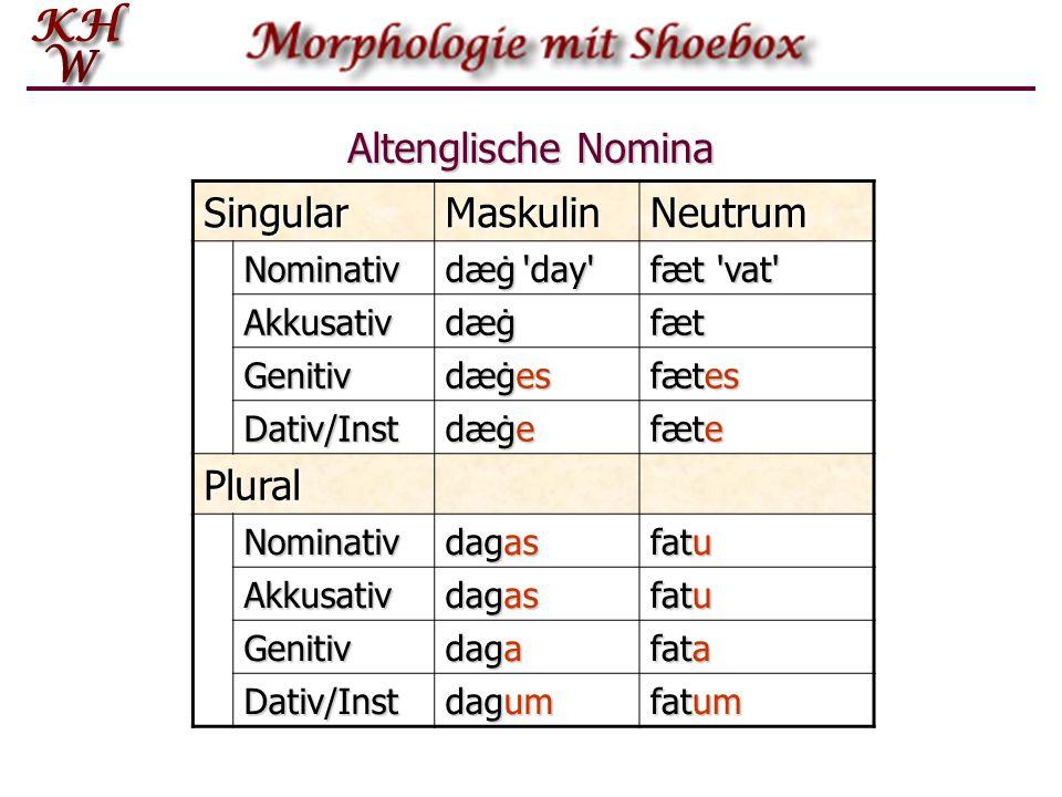 Altenglische Nomina Singular Maskulin Neutrum Plural Nominativ
