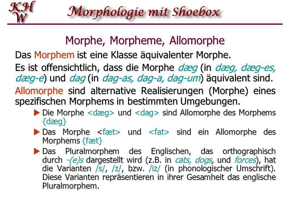 Morphe, Morpheme, Allomorphe