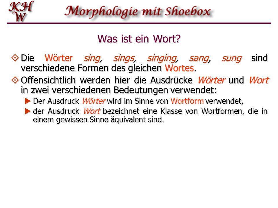 Was ist ein Wort Die Wörter sing, sings, singing, sang, sung sind verschiedene Formen des gleichen Wortes.