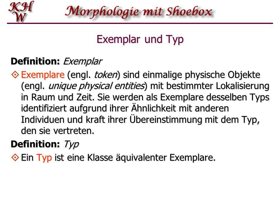Exemplar und Typ Definition: Exemplar