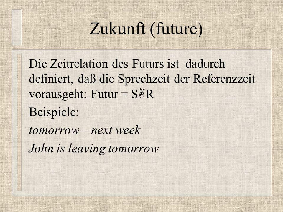 Zukunft (future) Die Zeitrelation des Futurs ist dadurch definiert, daß die Sprechzeit der Referenzzeit vorausgeht: Futur = SR.