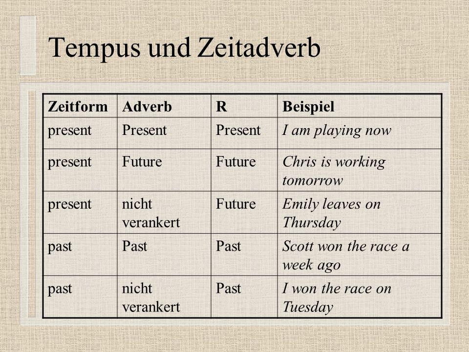 Tempus und Zeitadverb Zeitform Adverb R Beispiel present Present