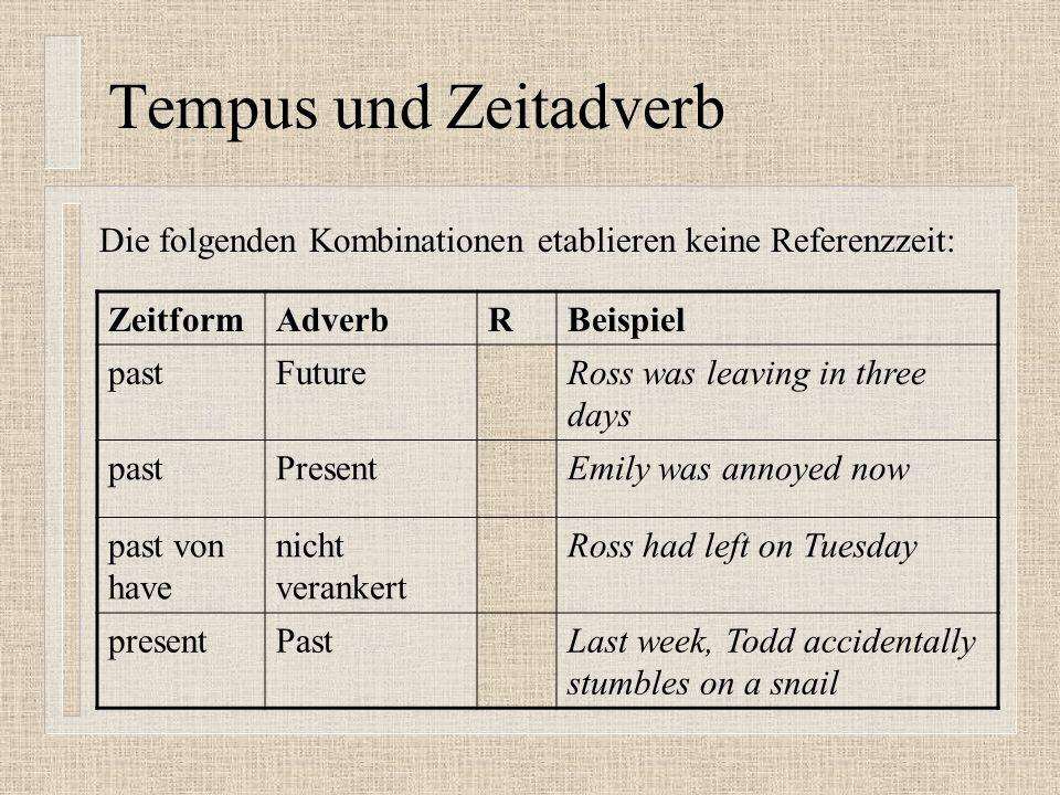 Tempus und Zeitadverb Die folgenden Kombinationen etablieren keine Referenzzeit: Zeitform. Adverb.