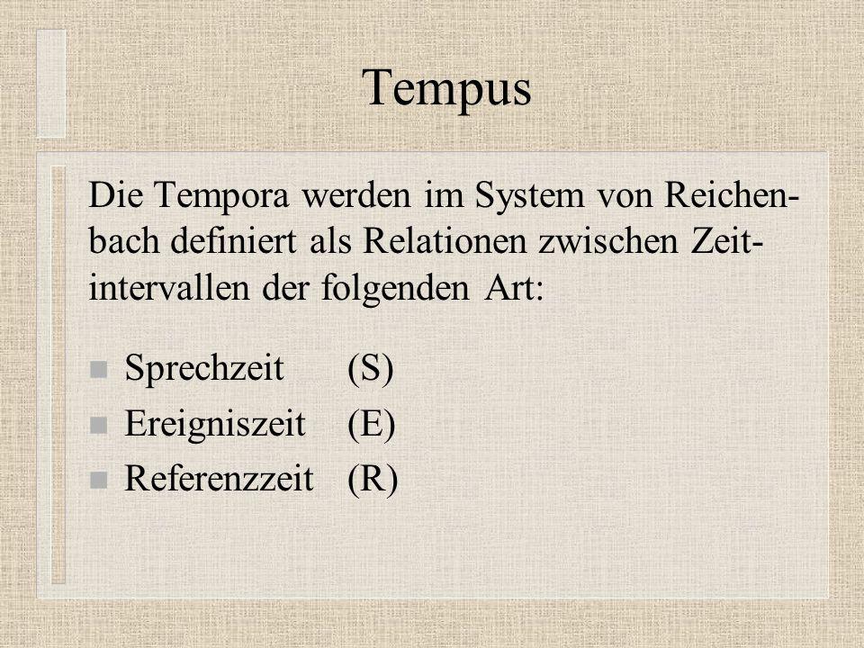 Tempus Die Tempora werden im System von Reichen-bach definiert als Relationen zwischen Zeit-intervallen der folgenden Art:
