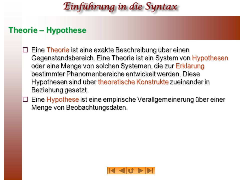 Theorie – Hypothese