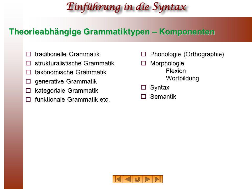Theorieabhängige Grammatiktypen – Komponenten