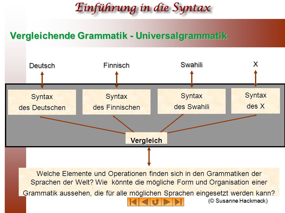 Vergleichende Grammatik - Universalgrammatik