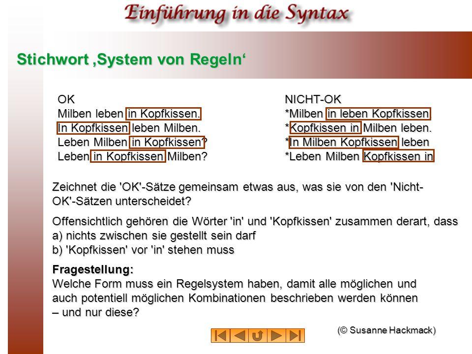 Stichwort 'System von Regeln'