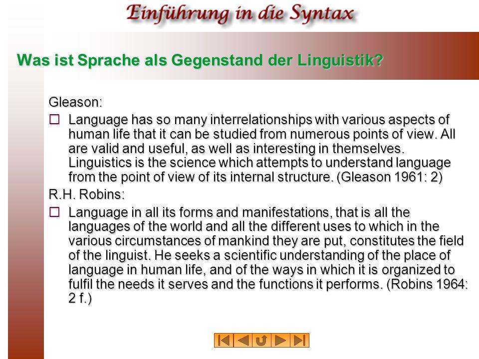 Was ist Sprache als Gegenstand der Linguistik