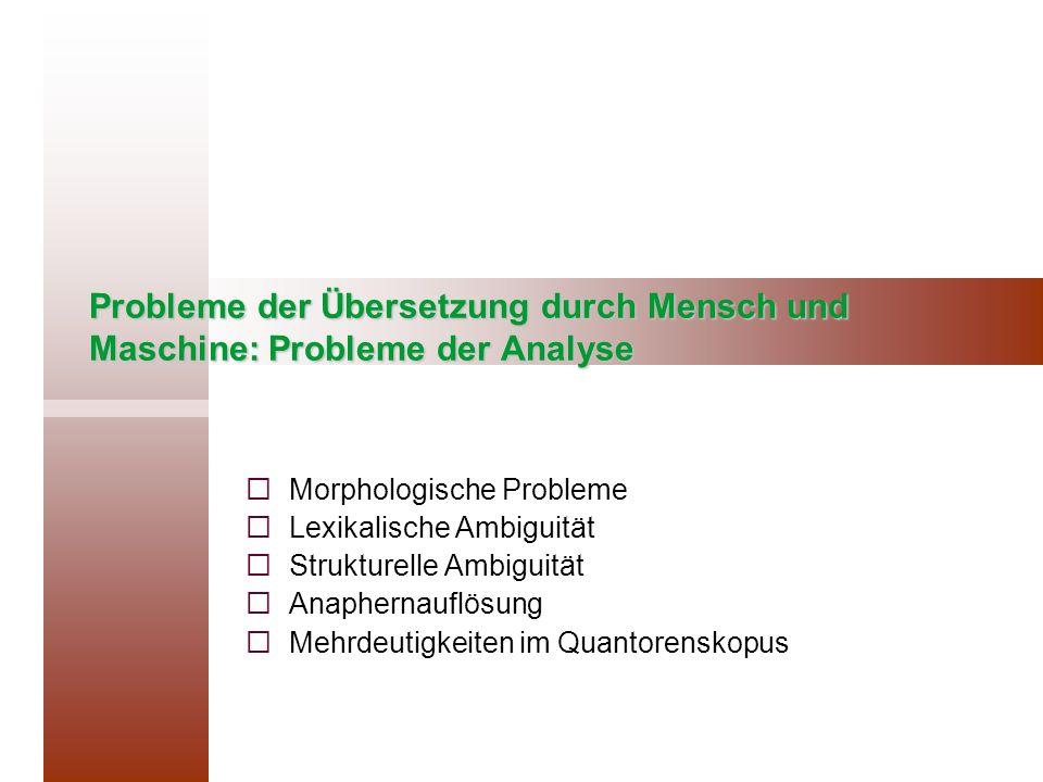 Probleme der Übersetzung durch Mensch und Maschine: Probleme der Analyse