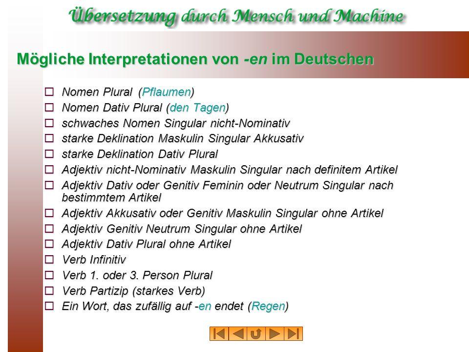 Mögliche Interpretationen von ‑en im Deutschen