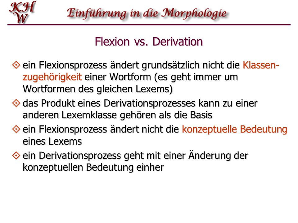 Flexion vs. Derivation