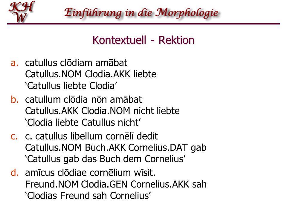 Kontextuell - Rektioncatullus clōdiam amābat Catullus.NOM Clodia.AKK liebte 'Catullus liebte Clodia'