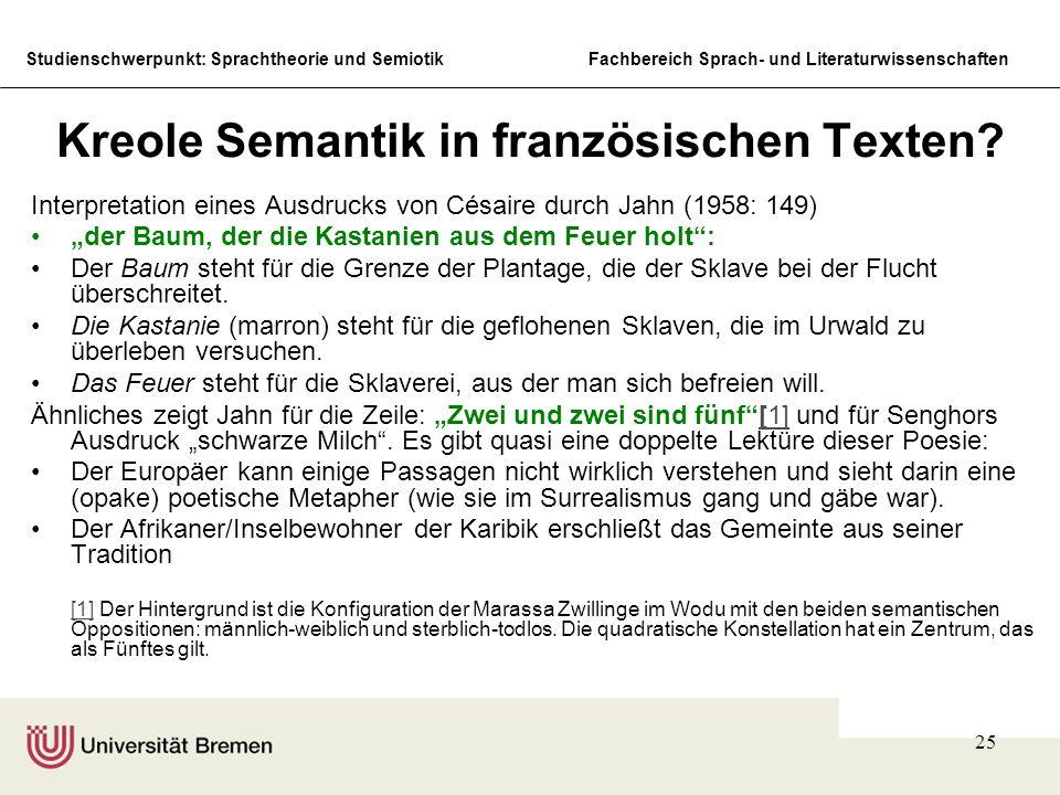 Kreole Semantik in französischen Texten