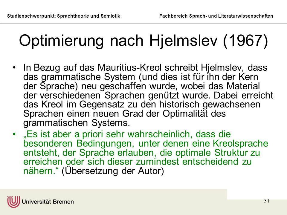 Optimierung nach Hjelmslev (1967)