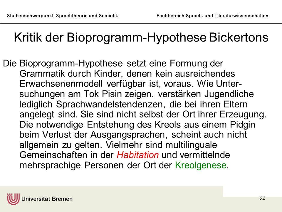 Kritik der Bioprogramm-Hypothese Bickertons