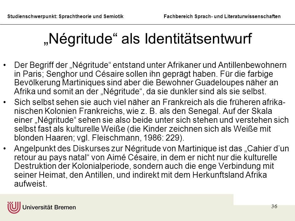 """Négritude als Identitätsentwurf"