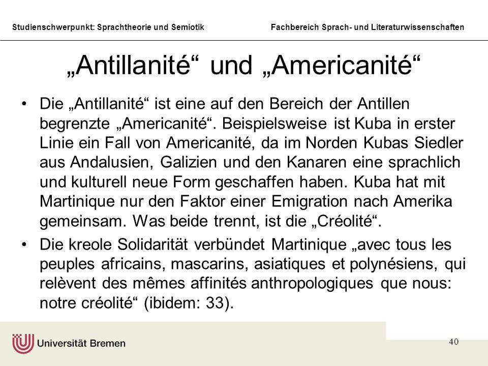 """""""Antillanité und """"Americanité"""