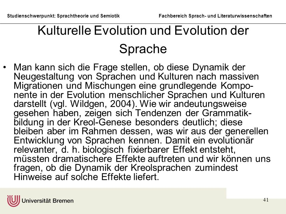 Kulturelle Evolution und Evolution der Sprache