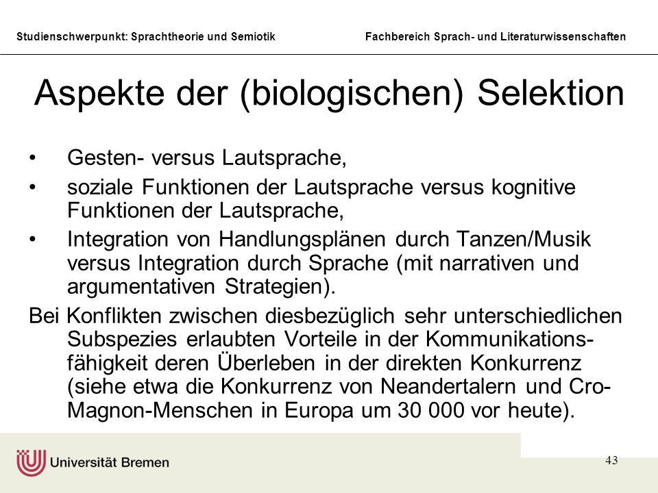 Aspekte der (biologischen) Selektion