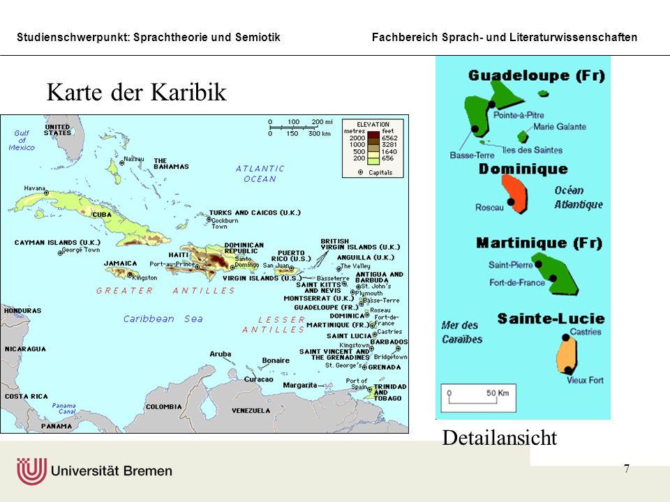 Karte der Karibik Detailansicht