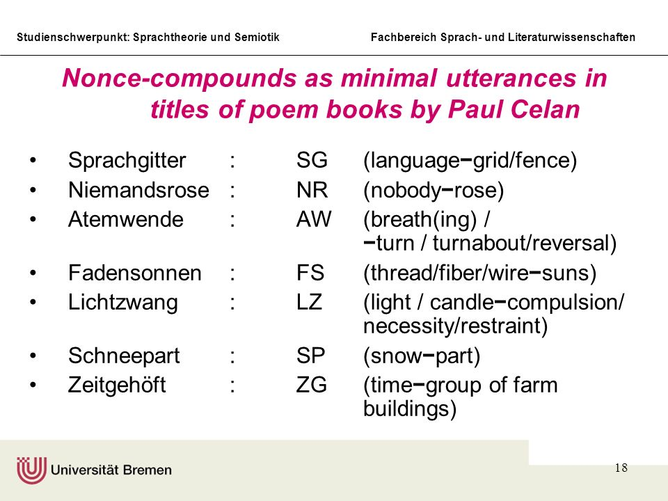 Nonce-compounds as minimal utterances in titles of poem books by Paul Celan