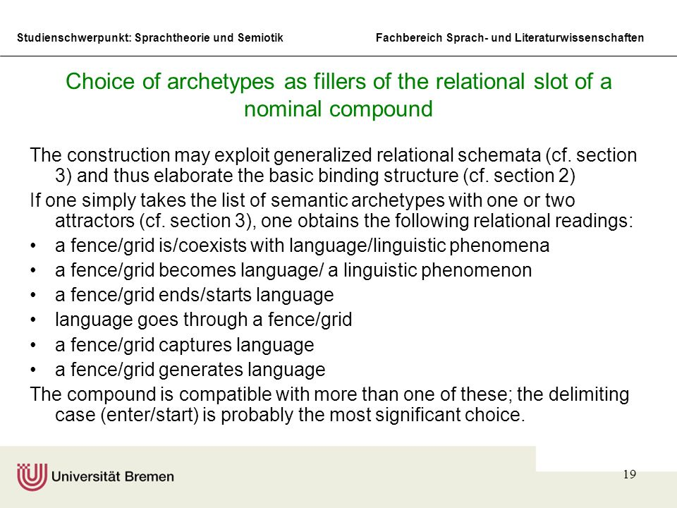 Choice of archetypes as fillers of the relational slot of a nominal compound
