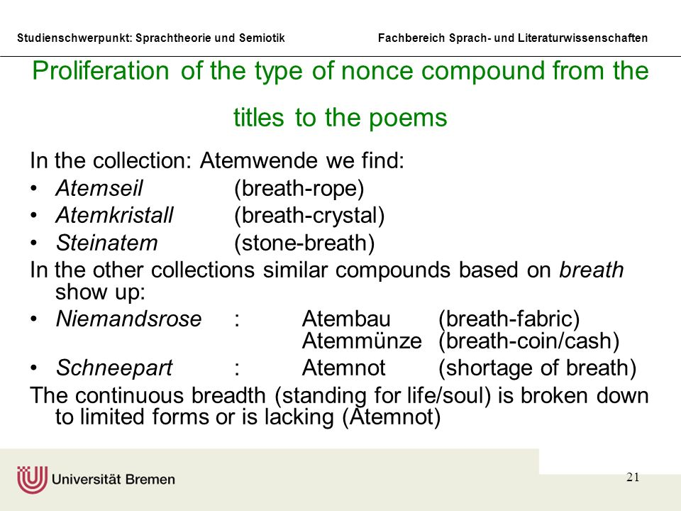 Proliferation of the type of nonce compound from the titles to the poems